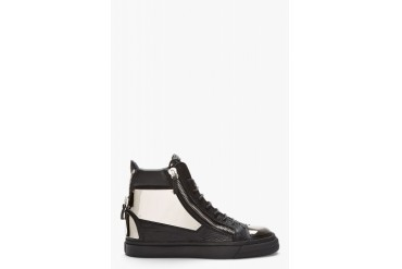 Giuseppe Zanotti Black Leather Metal plated High top Sneakers