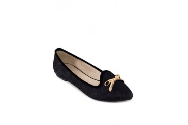 Gloria Lace Pointy Flats with Bow