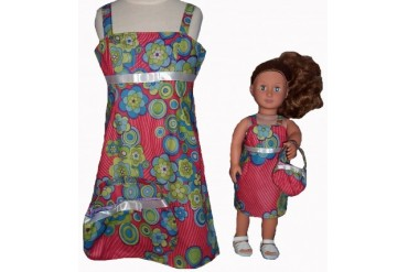 Size 7 Matching Girl And Doll Red Flower Sundress With Purse