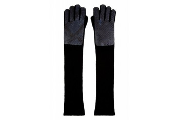 Christopher Kane Grey Python And Cashmere Long Gloves