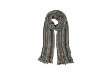 Multicolor Zig Zag Wool Blend Fringed Long Scarf