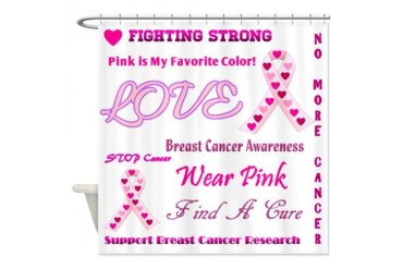 Breast Cancer Collage Breast cancer Shower Curtain by CafePress