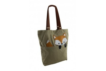 Sleepyville Critters Peeking Fox Canvas Tote Bag