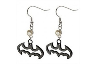 DC Comics Batman Die Cut Logo Outline Dangle Champagne Gem Stainless Steel Earrings