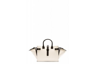 Costume National Ivory And Black Leather Colorblocked Bag