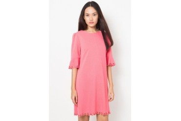 Chic Simple Laser Cut Bell Sleeves Dress