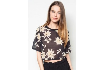 Something Borrowed Floral Printed Cropped Top