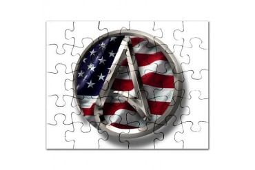American Atheist Logo Atheist Puzzle by CafePress