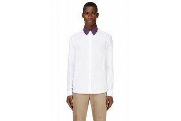 Kenzo White Knit Collar Shirt