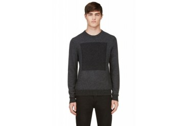 Rag And Bone Charcoal And Grey Contrast Knit Joel Sweater