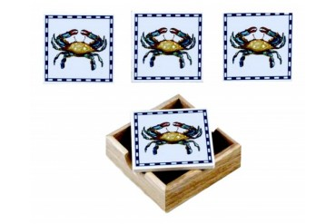 Blue Crab Tile Coasters with Wood Tray Set