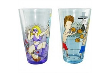 Beavis and Butthead Wrestling Color Two Pint Glass Set
