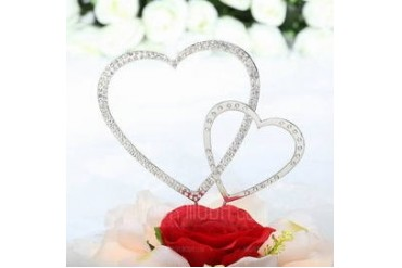 Double Hearts Chrome Wedding Cake Topper (Set of 2 pieces) (119030817)