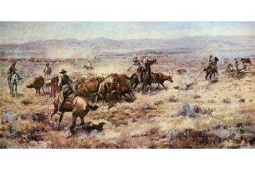 The Round-Up Poster Print by Charles M. Russell (24 x 48)