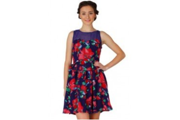 Voerin Purple Flower Mini Dress