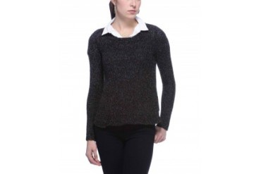 BCBGeneration Space-Dyed Knit Pullover Sweater Black, L