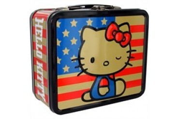Hello Kitty American Flag Wink Metal Lunch Box