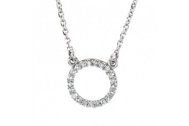 1 10 cttw Diamond Circle Necklace in 14K White Gold