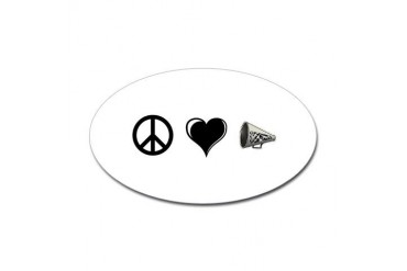 Peace, Love, Cheer Peace Sticker Oval by CafePress