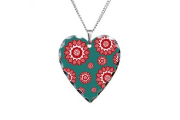 Red and Teal Geometric Floral Cute Necklace Heart Charm by CafePress