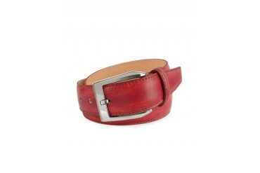 Men's Red Hand Painted Italian Leather Belt