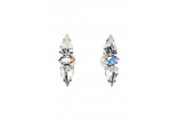 Saturation Rhinestone Front Pearl Back Earrings