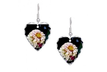 Peppermint Zinnia Nature Earring Heart Charm by CafePress