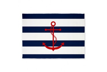 Red Anchor on Blue Stripes 5'x7'Area Rug