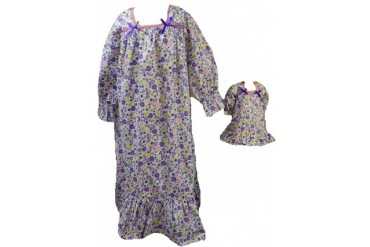 Size 10 CHUBBY Matching Girl and Doll Purple Flower Nightgown