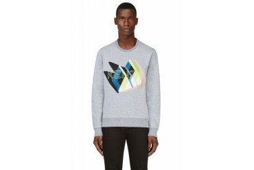 Kenzo Grey Embroidered Twin Peaks Logo Sweatshirt