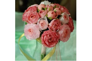 Pretty Round Satin Bridesmaid Bouquets (124032071)