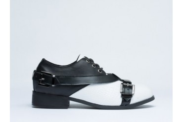 Depression Strap Buckle Shoes in White Black size 9.0