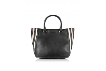 Lucien Black Striped Leather Shopping Bag