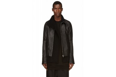 Rick Owens Black Leather And Cashmere Mollino Jacket