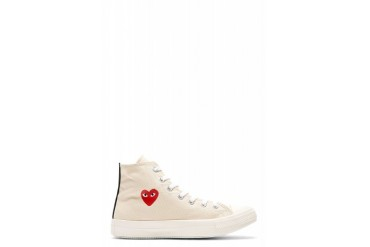 Comme Des Garons Play Off white Heart Logo Converse Edition High top Sneakers