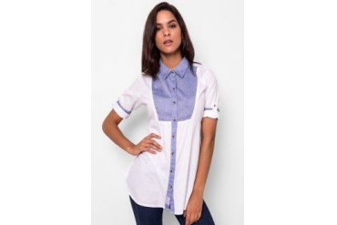 Heath Blouse With Combination Chambray