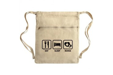 Eat Sleep Nurse Sack Pack Funny Cinch Sack by CafePress