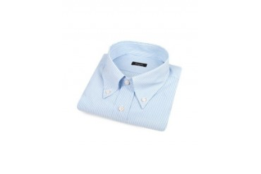 Blue Pencil Stripe Button Down Cotton Dress Shirt