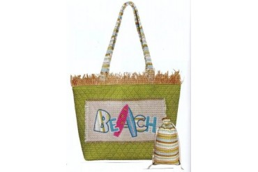 Summer Fun Beach Surfboard Raffia Trim Tote Bag Set