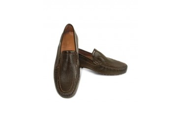 Dark Brown Perforated Patent Leather Driving Shoes