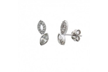 Solid Sterling Silver Pave Maquise Kiss Stud Eaarings