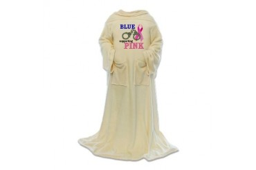 Blue supporting Pink Breast cancer awareness Blanket Wrap by CafePress