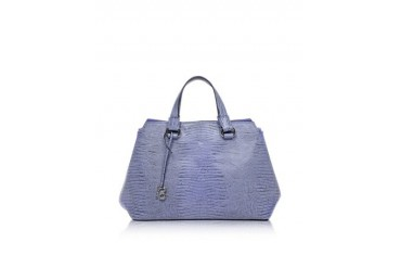 Pigalle Violet Lizard Print Leather Tote