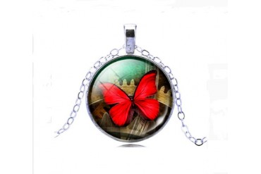 Silver Plated Glass Cabochon Butterfly Pattern Pendant Necklace for Women