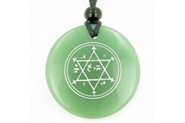 King of Solomon Circle of Pentacle Hexagram Green Quartz Necklace