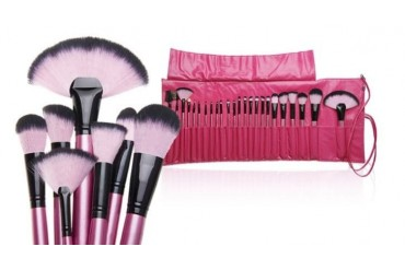 Hot Pink Makeup Brush Set with Carrying Case (24-Piece)