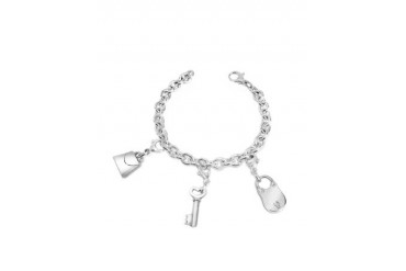 Sterling Silver Lock & Key Bracelet