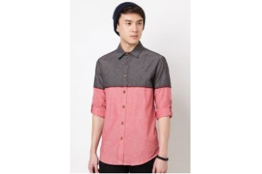 Long Sleeve Oxford Shirt With Contrast Color Panel