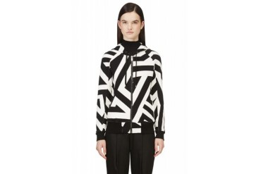 Gareth Pugh Black And White Graphic Stripe Hoodie