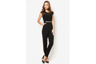 New Look Black Cap Sleeve Mesh Panel Studded Belt Jumpsuit